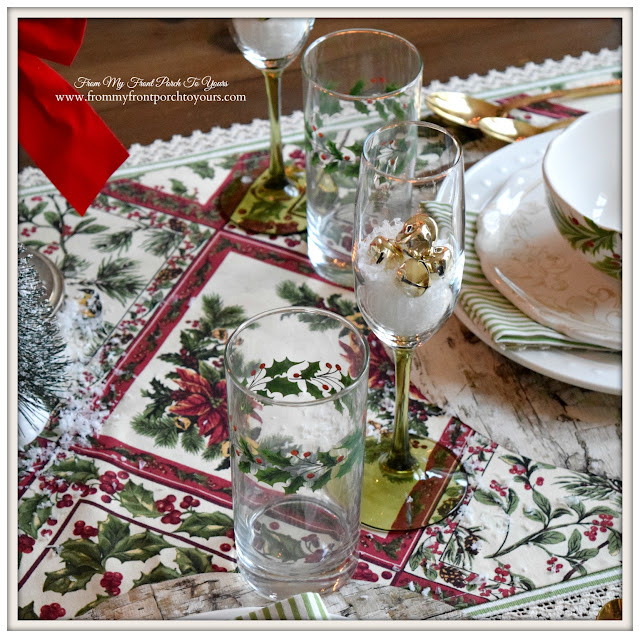 Farmhouse Christmas Dining Room- Christmas Tablescape-Holly Glasses-From My Front Porch To Yours
