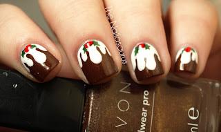 Unhas decoradas para o natal - cupcake