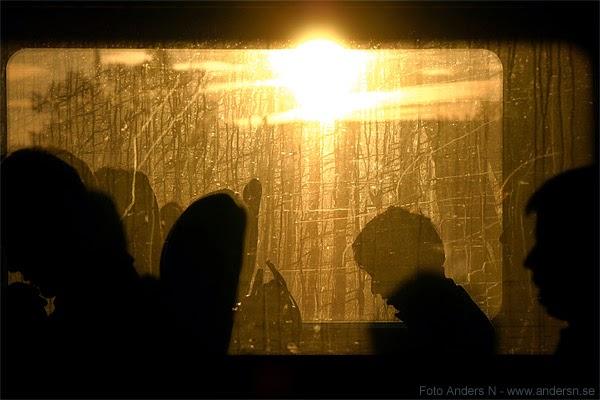 tåg, passagerare, tågpassagerare, åka tåg, morgon, motljus, train, passengers, morning, light, back light, sunlight, foto anders n, tsyfpl