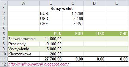 Jak zamienić złotówki (PLN) na inną walutę (EUR/ USD/ CHF) - formatka
