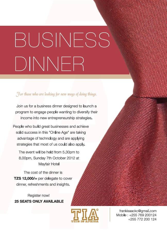 BUSINESS DINNER INVITATION...!!! | JESTINA GEORGE