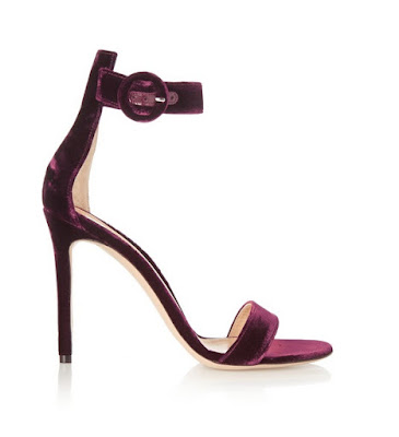 Gianvito Rossi purple velvet barely there stiletto heels with buckle