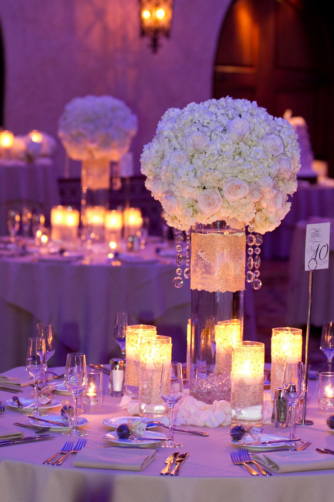 White Centerpieces Ideas : Hollywood roosevelt hotel glamourous wedding heavenly blooms
