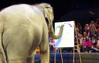 Elephant painting at Ringling Bros circus