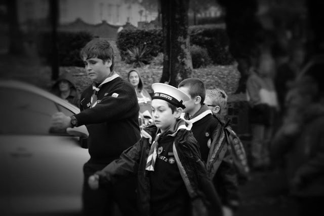Sea Scouts marching Remembrance Sunday