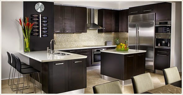 Color black modern kitchens