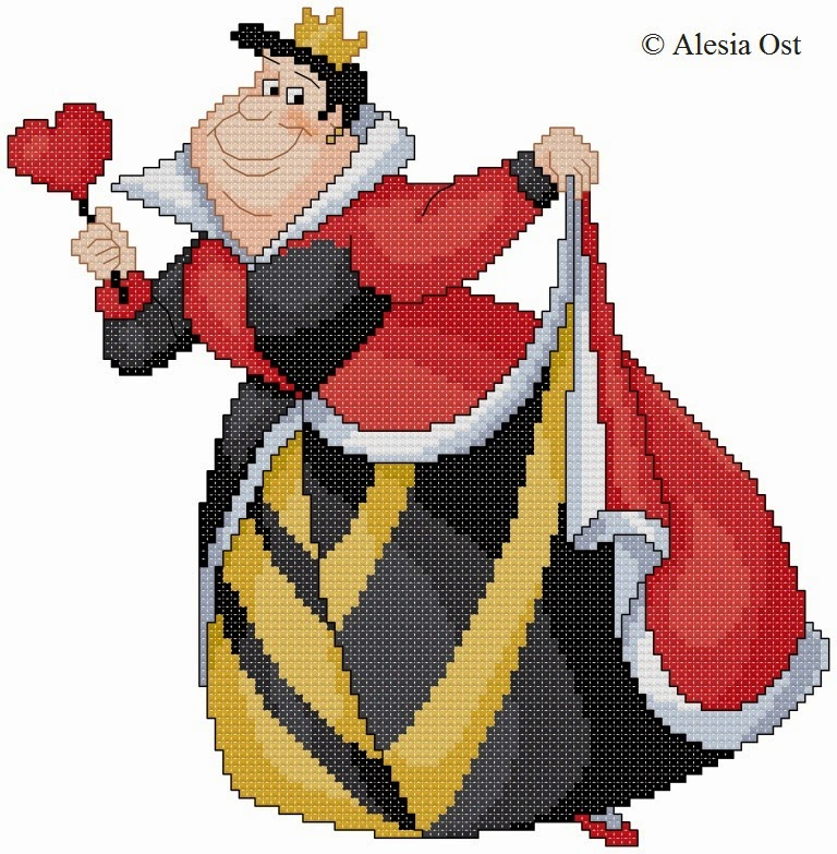 Free cross-stitch patterns, Queen of Hearts, queen, heart, Disney, cartoon, cross-stitch, back stitch, cross-stitch scheme, free pattern, x-stitchmagic.blogspot.it, вышивка крестиком, бесплатная схема, punto croce, schemi punto croce gratis, DMC, blocks, symbols, patrones punto de cruz