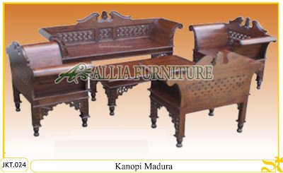 Set Meja dan Kursi Tamu Ukiran Kayu Jati Kanopi Madura