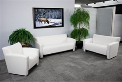 White Leather Reception Furniture