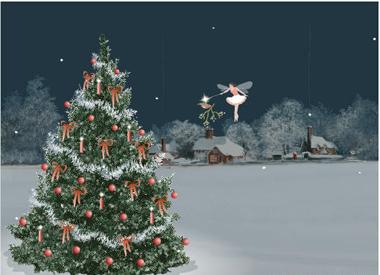 Paisaje nevado con un arbol de navidad paisaje nevado - Paisaje nevado navidad ...