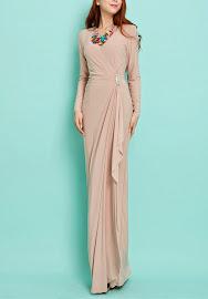 Soft Beige Long Sleeve Side Crystal Buckle Side Ruffle Maxi Dress