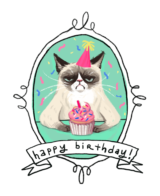 drawing of grumpy cat Tarder Sauce with a cupcake and party hat