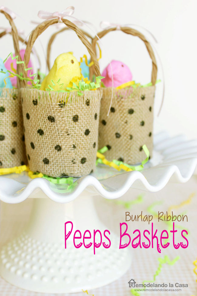 How to make little baskets out of burlap ribbon