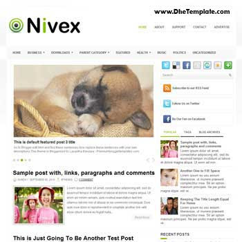 Nivex blog template. template image slider blog. magazine blogger template style