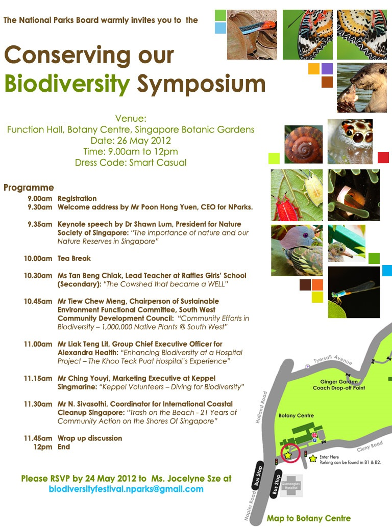 biodiversity in singapore Across scales from genes to species, landscapes and biomes, biodiversity is an important resource for  related conference of biodiversity  singapore.