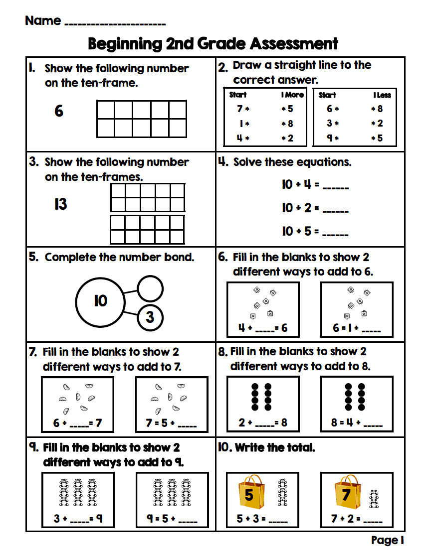 Critical image within 2nd grade math assessment printable