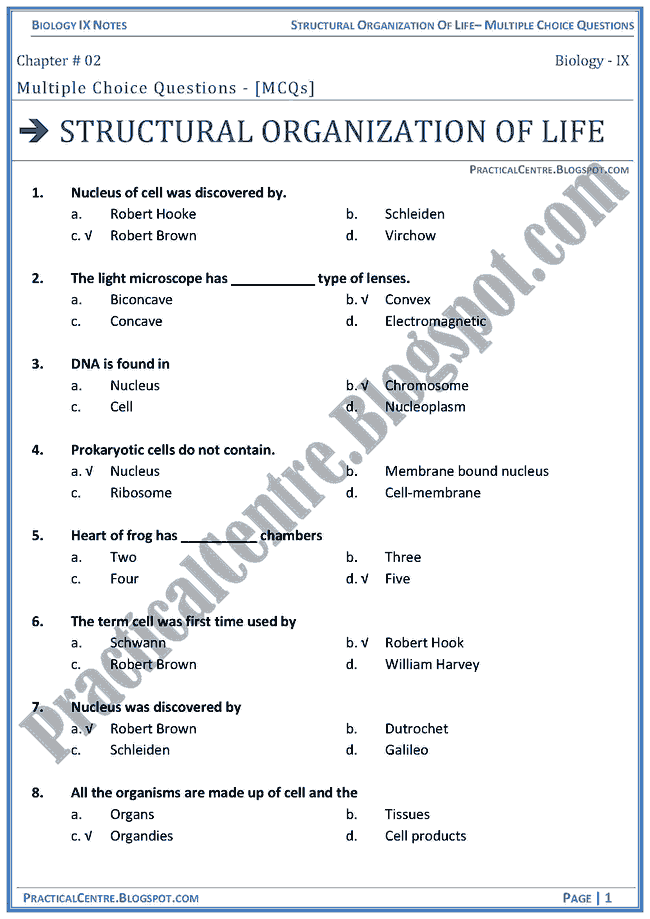 structural-organization-of-life-mcqs-biology-ix