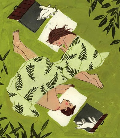 outdoors sleeping couple illustration by Penelope Dullaghan