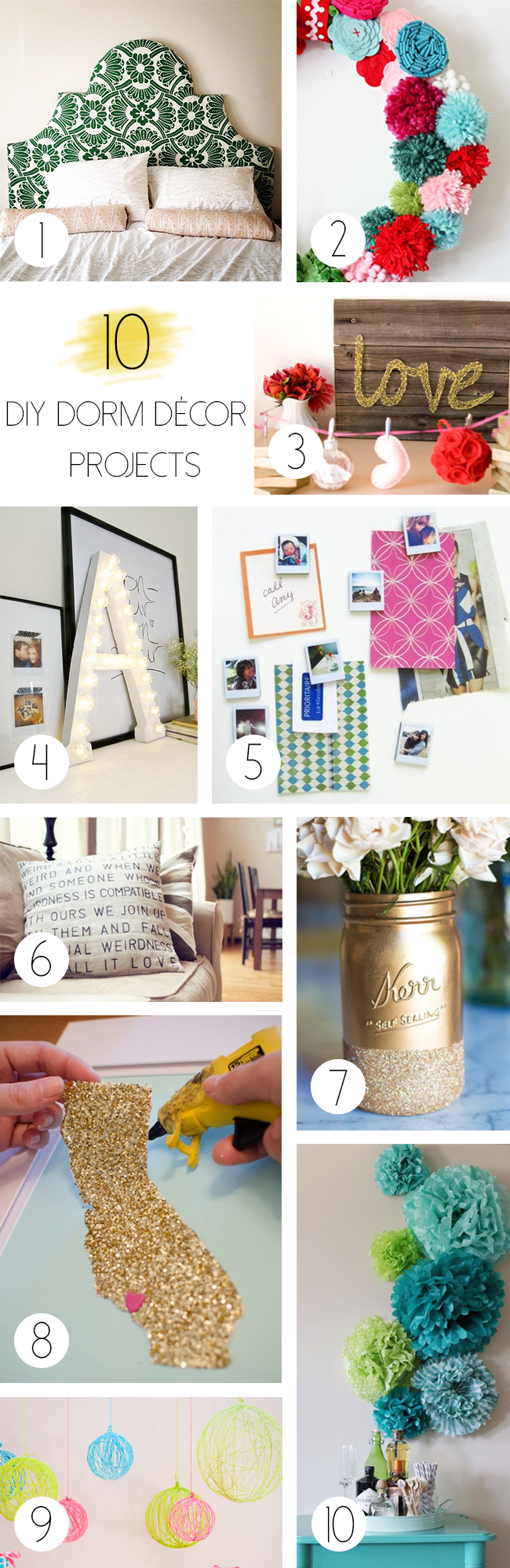 Dorm Décor DIY Projects  The Bella Insider ~ 215421_Dorm Room Diy Ideas