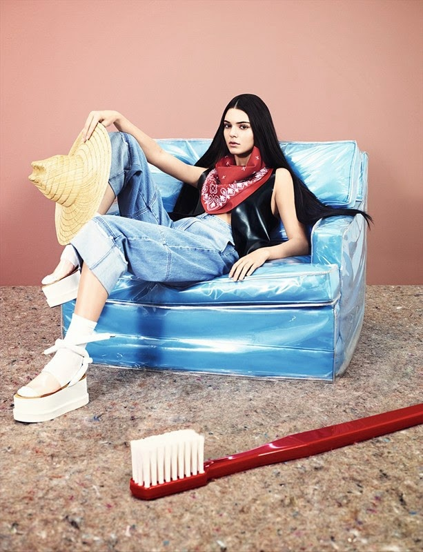Latex bandana, latex gilet, jeans and platform shoes by MM6; straw hat from Costume Studio; socks by Junya Watanabe  Photography Ben Toms, styling Robbie Spencer kendall jenner fashion dazed and confused shoot