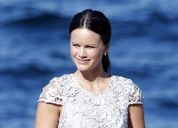 Princess Sofia as a bridesmaid during the wedding of her sister Lina Hellqvist and Jonas Frejd on a boat in Stockholm