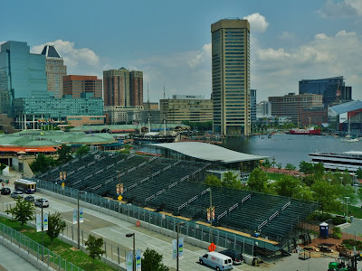 Bleachers getting set up for The Baltimore Grand Prix