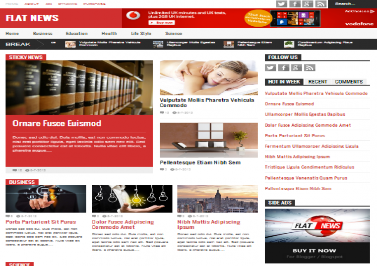 Flat News Responsive Blogger Template Free Download