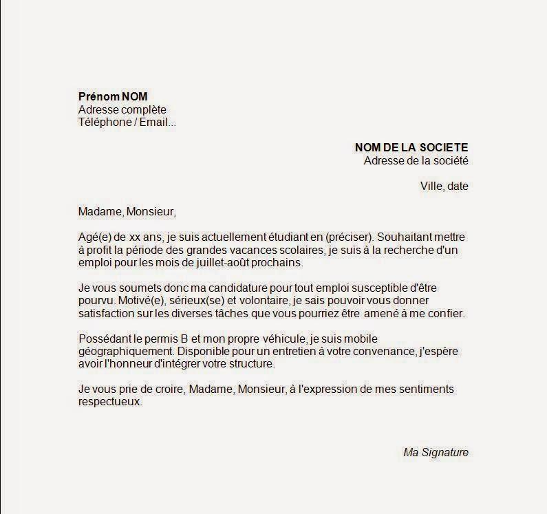 Colombianos en francia carta de motivaci n - Job vacances toussaint ...