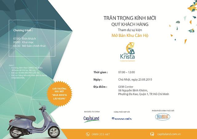 Thư mời tham gia event mở bán căn hộ The Krista