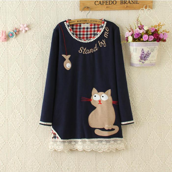 quần áo mori girl thêu mèo, con vật dễ thương