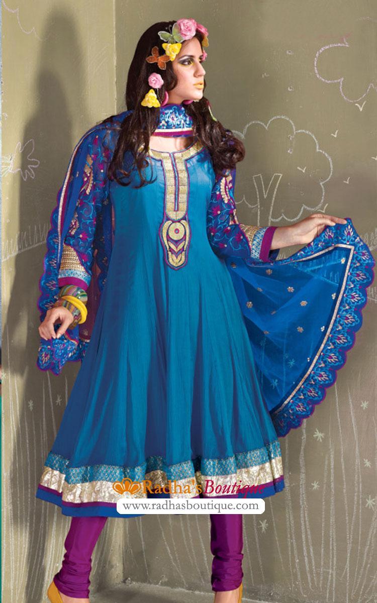 Blue and Purple Crepe Silk Churidar Suit - Silk Salwar Kameez ...