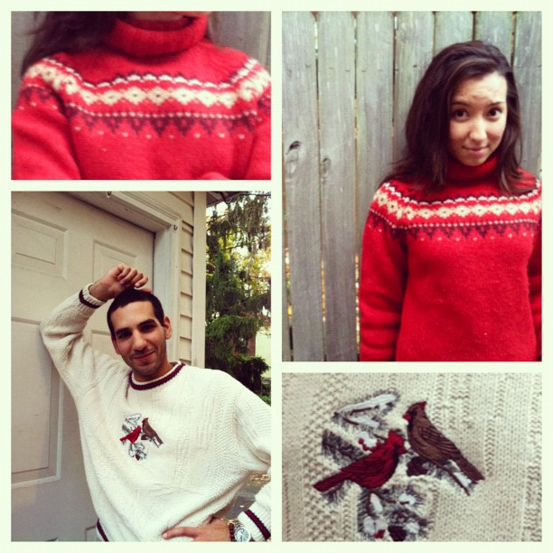 Christmas, sweaters, ugly sweaters, ugly Christmas sweaters, secondhand sweaters, cardinals, nordic sweater, Catholic wedding, Catholic wedding blog, Catholic wedding planning, Catholic bride, Catholic marriage prep