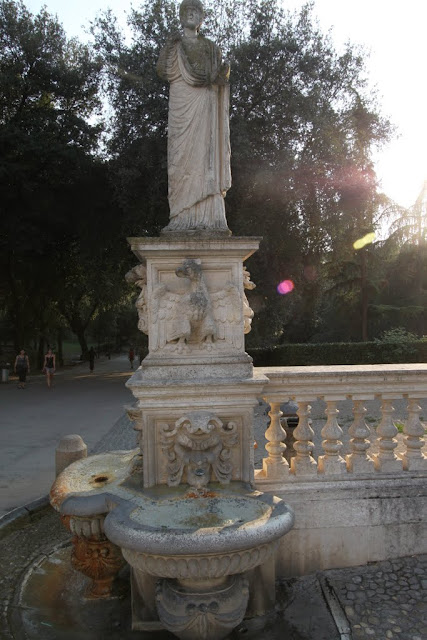 Water fountain in front of Villa Borghese Gallery in Rome, Italy
