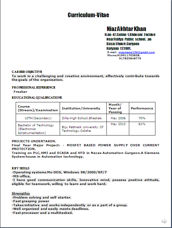 Sample Resume Format In Word Doc For A B Tech