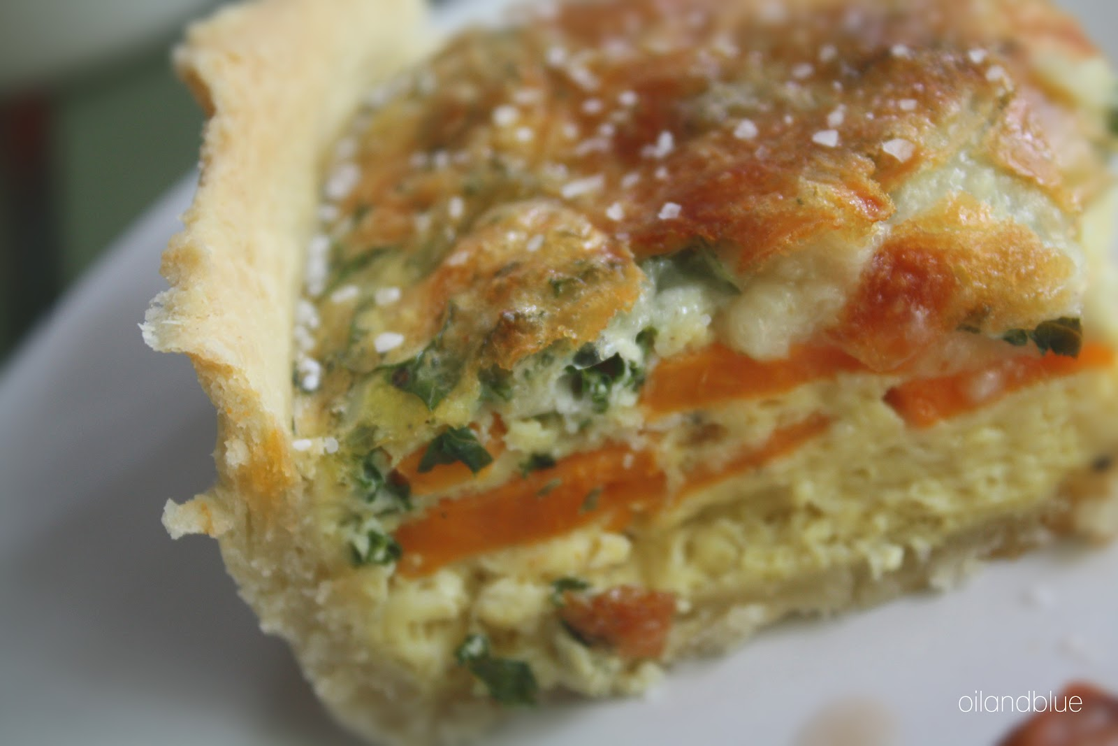 oil and blue: EASY KALE AND SWEET POTATO QUICHE