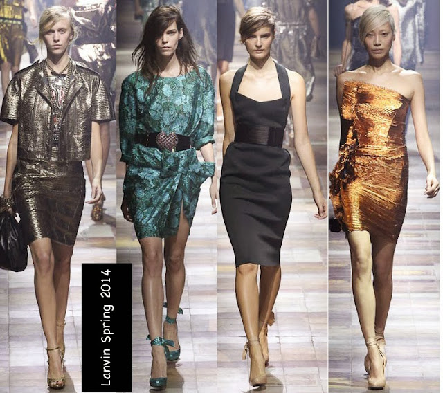 lanvin womens spring 2014 metallic dresses