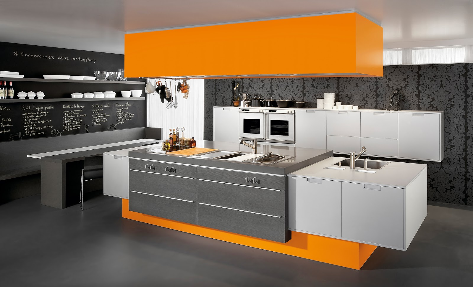 De conception de maison deco moderne for Deco cuisine orange blanc