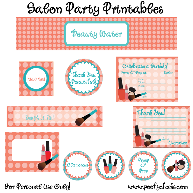 Free Salon Party Printables by Poofy Cheeks