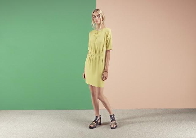 yellow waisted dress, yellow gathered dress, yellow shift dress,