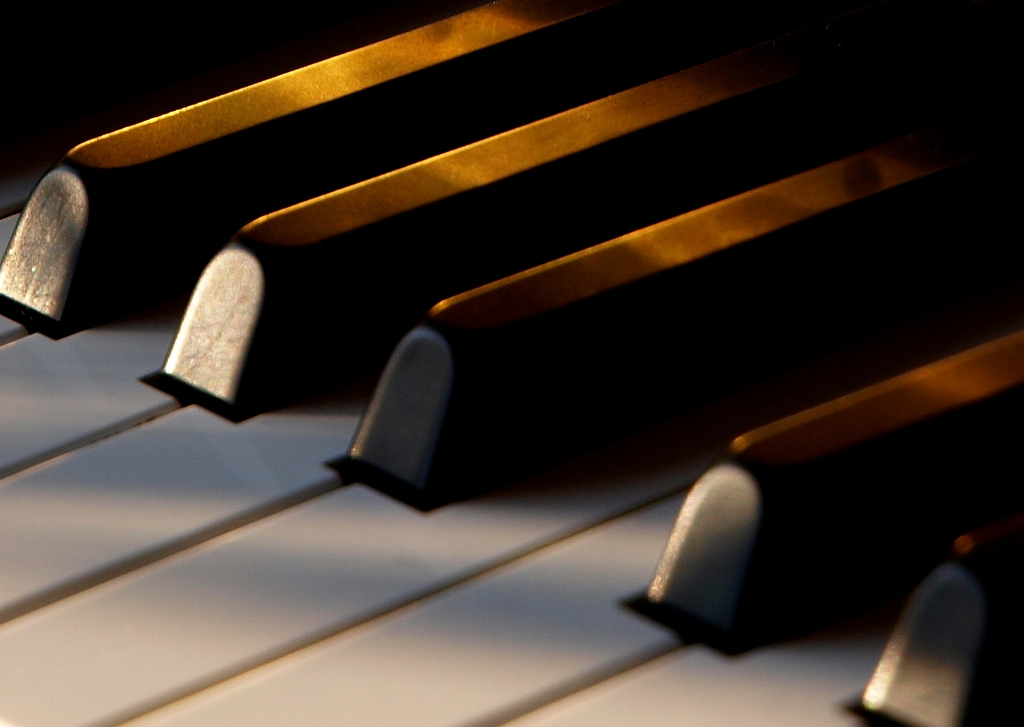 A closeup of piano keys