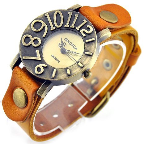 Sinceda Genuine Leather Punk Retro Arabic Numerals Women's Fashion Watch