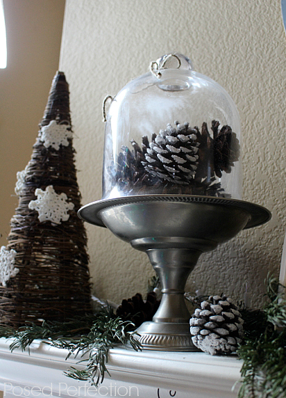 DIY Snow Frosted Pine Cones under a cloche and a grapevine tree with snowflakes