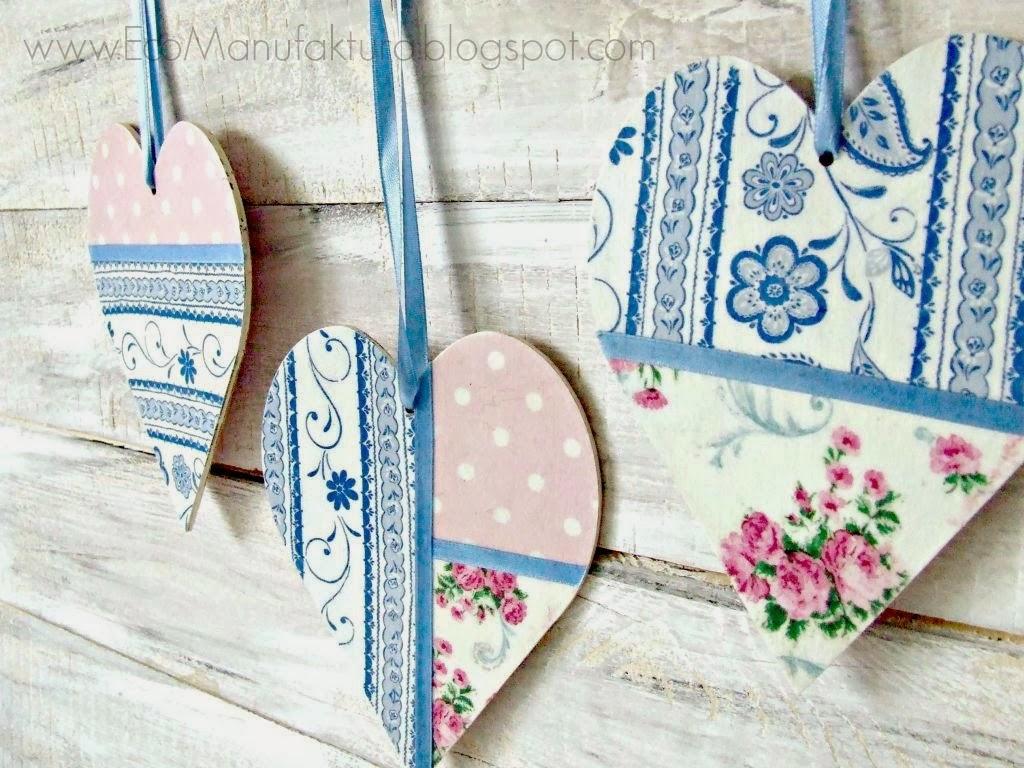 serca decoupage a la patchwork - dekoracja walentynkowa w pastelowych kolorach By Eco Manufaktura