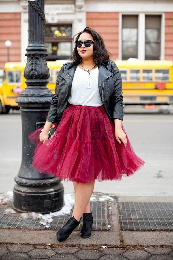 jaqueta de couro com saia de tule, roupas da moda, moda plus size