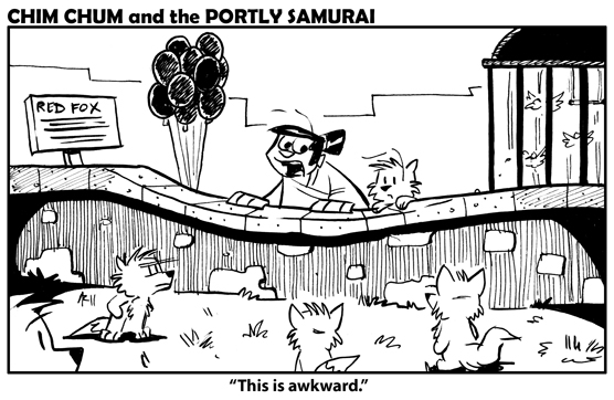 "Image: Chim Chum and The Portly Samurai visit the foxes at the zoo, who look at them upsettedly while The Portly Samurai remarks, ""This is awkward."""