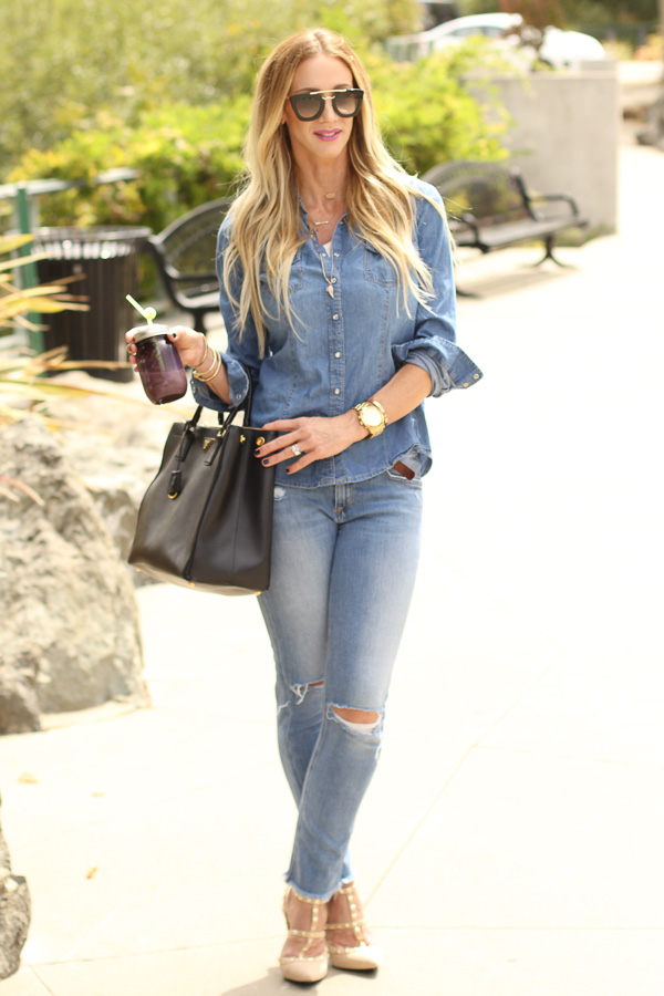 distressed skinny jeans with heels