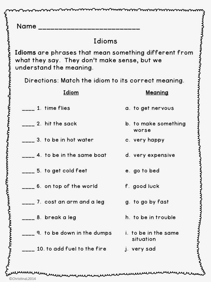 Idioms Worksheets For Middle School – Idioms Worksheets