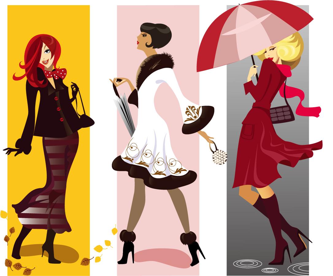 お洒落な装いでポーズをとる女性 fashion girl illustrator イラスト素材