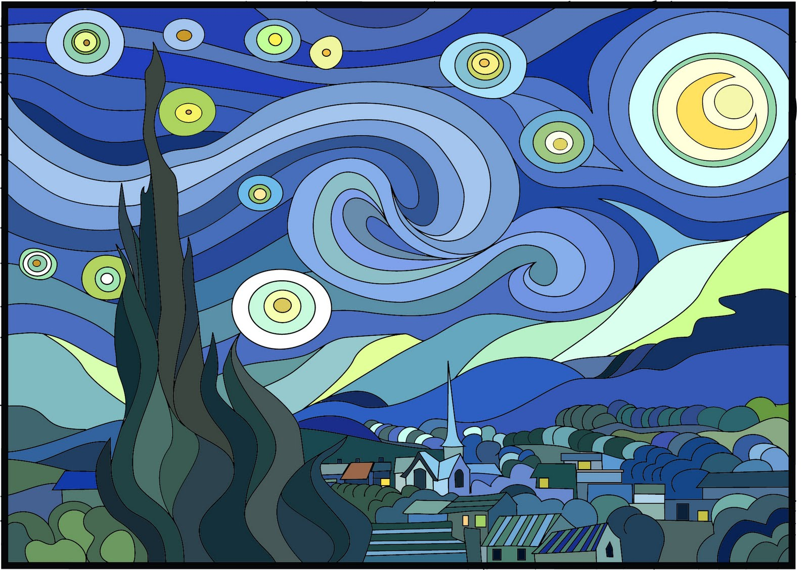 Free coloring pages of van gogh starry night for Mural van gogh