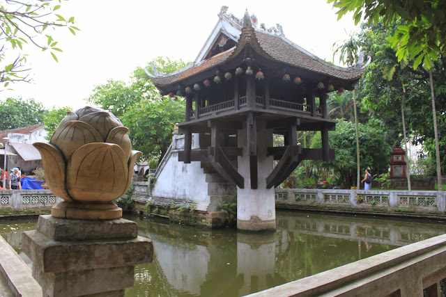 The famous One Pillar Pagoda 1049 which resembles lotus flower in a pond in Hanoi, Vietnam